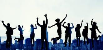 Ludzie Biznesu sukcesu podniecenia zwycięstwa osiągnięcia pojęcia Obrazy Royalty Free