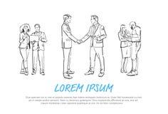Ludzie biznesu trząść ręki podczas spotkania, zgoda przed biznesmen dyskusji kolegami komunikuje pełno royalty ilustracja