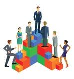 Ludzie biznesu unosi się na blokach ilustracja wektor