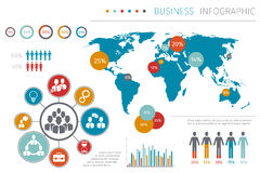 Ludzie biznesu światowej mapy infographic wektorowej ilustraci Fotografia Stock