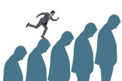 Ludzie biznesu wspina się kariery drabinę w biznesowym pojęciu Zdjęcia Royalty Free