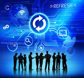 Ludzie Biznesu z Komputerowymi pojęcie symbolami Above Zdjęcia Stock