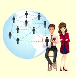 Ludzie biznesu z mapą świat ilustracja wektor