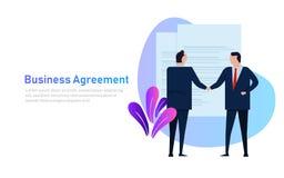 Ludzie biznesu zgoda trwanie uścisku dłoni jest ubranym apartament formalnego Pojęcie sztandaru wektorowy styl ilustracja wektor