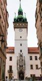 Ludzie blisko starego urzędu miasta górują w Brno miasteczku Obrazy Royalty Free