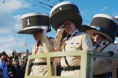 Ludzie brali udział w paradzie przy lucerna karnawałem w lucernie, Szwajcaria obrazy stock