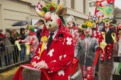 Ludzie brali udział w Basel karnawale w Basel, Szwajcaria Zdjęcia Royalty Free