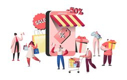 Ludzie charakterów kupuje w online sklepu i smartphone ekranie Strona internetowa zakupy, mobilny marketingowy pojęcie, handel el ilustracja wektor