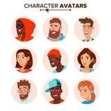 Ludzie charakteru Avatars Ustawiającego wektoru Kreskówki mieszkania odosobniona ilustracja ilustracja wektor