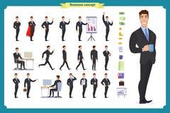 Ludzie charakteru biznesu setu Młody biznesmen w formalnej odzieży ilustracji