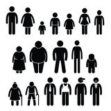 Ludzie charakteru mężczyzna kobiety dzieci wieka rozmiaru Cliparts Fotografia Royalty Free