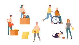 Ludzie charakteru wolontariusza opieki dla seniora setu Potrzebujący społeczności pomocy centrum Dobroczynność zwierzę Wspierać b ilustracji