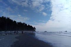 Ludzie chodzą na brzeg ocean spokojny na jasnym dniu obrazy stock