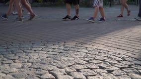 Ludzie chodzą puszek ulica w mieście zdjęcie wideo