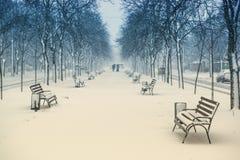 Ludzie chodzi na bulwarze podczas ciężkiego opadu śniegu obrazy stock