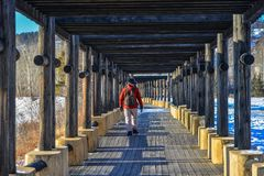 Ludzie chodzi na drewnianym śladzie przy zima parkiem fotografia stock