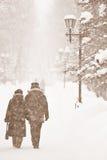 Ludzie chodzi w śniegu Zdjęcia Royalty Free