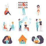 Ludzie cierpi od zaburzeń psychicznych ustawiają, psychoterapeuci taktuje pacjentów, zdrowie psychiczne problemy wektorowi royalty ilustracja
