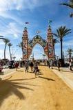 Ludzie cieszy się dobrego dzień przy Feria De Sanlucar De Barrameda obraz stock
