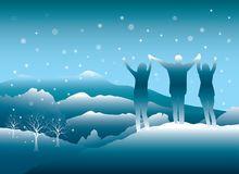 Ludzie cieszy się zimy wycieczkę w Kolorado górach ilustracji
