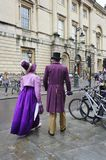 Ludzie costumed w ulicach skąpanie dla Jane Austen festiwalu Obrazy Stock