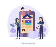 Ludzie czytają wiadomość dnią Wiadomości gospodarcze, wywiad, konferencja prasowa, przeglądy royalty ilustracja