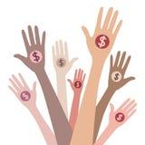 Ludzie daje pieniądze royalty ilustracja