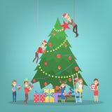 Ludzie dekoruje dużej choinki Szczęśliwi charaktery przygotowywa dla nowego roku royalty ilustracja