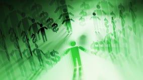 Ludzie, dolar zieleń + ilustracja wektor