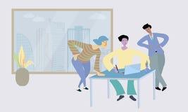 Ludzie dyskusja przy komputerami w otwartej przestrzeni biurze i opowiadać ilustracji