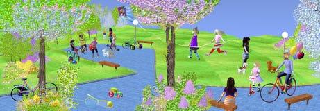 Ludzie, dzieci i dorosli bawić się w parku, royalty ilustracja