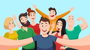 Ludzie grupują selfie Życzliwy facet robi grupowej fotografii z uśmiechniętymi przyjaciółmi na smartphone kamerze w ręka wektoru  royalty ilustracja
