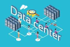 Ludzie Grupują Używać gadżet bazy danych serweru rewizi dane centrum 3d Isometric projekt royalty ilustracja