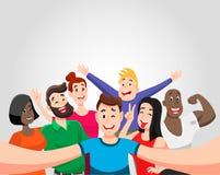 Ludzie grupuj? selfie ilustracja wektor