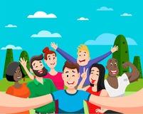 Ludzie grupuj? selfie ilustracji