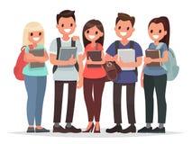 Ludzie i edukacja Grupa szczęśliwi ucznie z książkami na i royalty ilustracja