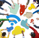 Ludzie i Kolorowi Ogólnospołeczni networking symbolu plakaty Obrazy Royalty Free
