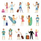 Ludzie i pary podróżuje, surfujący, czas wolny, wycieczkuje Charakteru projekt Płaski projekt Obrazy Royalty Free