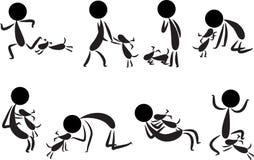 Ludzie i pies Zdjęcia Royalty Free