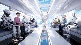 Ludzie i roboty Futurystyczny jednoszynowy transport Pojęcie przyszłość Realistyczna 4K animacja