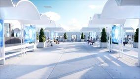 Ludzie i roboty Sci fi stacja Futurystyczny jednoszynowy transport Pojęcie przyszłość świadczenia 3 d ilustracja wektor