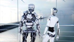 Ludzie i roboty Sci fi stacja Futurystyczny jednoszynowy transport Pojęcie przyszłość świadczenia 3 d royalty ilustracja