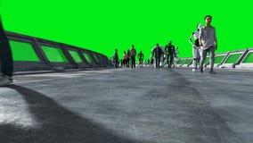 Ludzie i roboty Sci fi tonnel Futurystyczny ruch drogowy Poj?cie przysz?o?? Zielony parawanowy materia? filmowy Realistyczna 4K a zbiory wideo