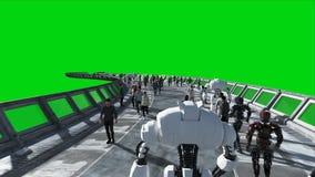 Ludzie i roboty Sci fi tonnel Futurystyczny ruch drogowy Poj?cie przysz?o?? Zielony parawanowy materia? filmowy Realistyczna 4K a zbiory
