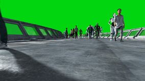 Ludzie i roboty Sci fi tonnel Futurystyczny ruch drogowy Poj?cie przysz?o?? Zielony parawanowy materia? filmowy Realistyczna 4K a ilustracja wektor