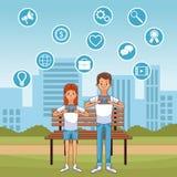 Ludzie i socjalny środki ilustracji