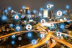 Ludzie ikony sieci i komunikaci pojęcie podwójny narażenia Zdjęcie Stock