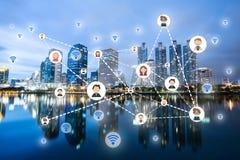 Ludzie ikony sieci i komunikaci pojęcie podwójny narażenia Fotografia Stock