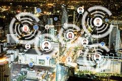 Ludzie ikony sieci i komunikaci pojęcie podwójny narażenia Obrazy Stock