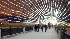 Ludzie jadą w frachcie z koniem Zima Boże Narodzenia zbiory wideo